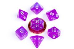 10mm Mini Stardust Acrylic Poly Dice Set: Purple (7)