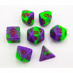Neon Green/Purple Set of 7 Fusion Polyhedral Dice with Red Numbers for D20 based RPG's