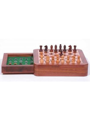 Chess Set: Magnetic Wood Set with Drawer 5X5