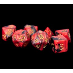 7 Count 16mm - Poly Red/Black with Gold Numbers