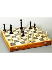 Chess Set: Hand Carved Stone 18 inch