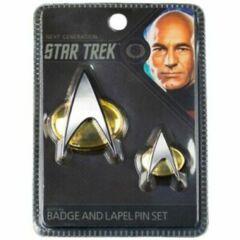 Star Trek: The Next Generation Enterprise Communicator Badge & Lapel Pin Set