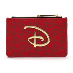 Loungefly Disney RED/BLK Debossed Logo Cardholder/Coin Purse