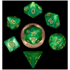 7 Count Mini Dice Poly Set - Green/Light Green with Gold Numbers