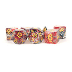 7 Count 16mm - Particle Dice - Red / Black