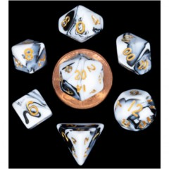 7 Count Mini Dice Poly Set - Marbel with Gold Numbers