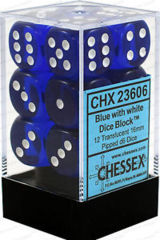 12 Blue w/white Translucent 16mm D6 Dice Block - CHX23606