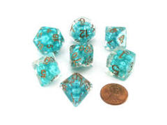 7 Count 16mm - Pearl: Teal w/ Copper Numbers