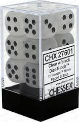 12 16mm Frosted Clear w/ Black D6 Dice CHX27601