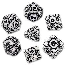 Tech Dice - Black and White Set