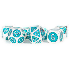 7 Count 16mm Metal - Silver with Teal