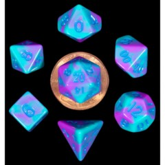 7 Count Mini Dice Poly Set - Purple/Teal with Blue Numbers