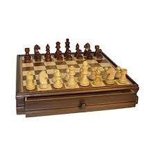 Chess Set - 17in Walnut Maple Veneer Chest