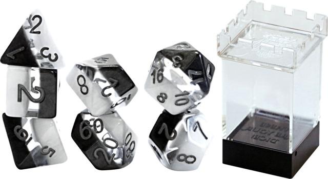 Gate Keeper Games - Halfsies Dice - Yin Yang - 7 Dice Set