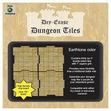 Dungeon Tiles - Dry Erase - 36 5 in w/ 1in Square Grid - Earth Tone
