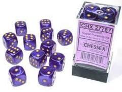 12 16mm Royal Purple/Gold Borealis D6 Dice Set CHX27787
