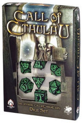 Call of Cthulhu - 7 dice set - Black/Green