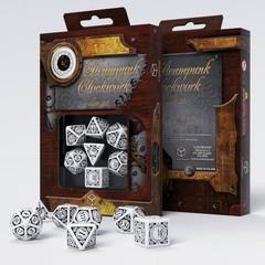 Steampunk Clockwork Dice Set - White & Black