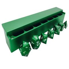 Precision CNC Aluminum Dice Set with Dice Vault: Druid Green