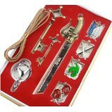 Attack on Titan Badge Keychains Key Necklace and Sword 8 Piece Set
