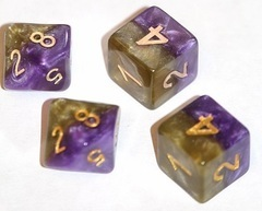 Gate Keeper Dice - Halfsies - Royal Purple and Soft Gold