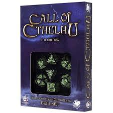 Call of Cthulhu - 7 Dice set - Black/Green (7th Edition)