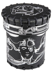 Dice Cup: Cyberpunk - Black/Silver Leather Dice Cup