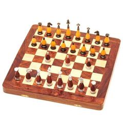 Chess Set: 16x16 with Metal and Wood Pieces
