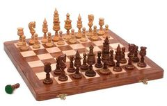 Chess Set: 16x16 Hand Carved Folding Board