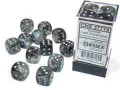 12 16mm Light Light Smoke/Silver Borealis D6 Dice Set CHX27778