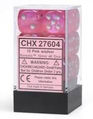12 16mm Pink/Silver Borealis D6 Dice Set CHX27784