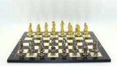 Chess Set - Florence Metal w/ Marble Decoupage Board