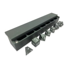 Precision CNC Aluminum Dice Set with Dice Vault: Gargoyle Grey