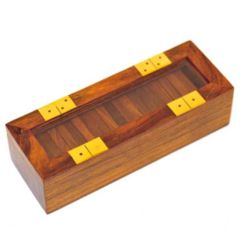 Domino Set - Wood with Glass Lid