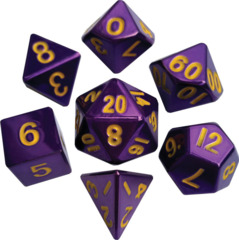 7 Count 16mm Metal - Purple with Gold Numbers