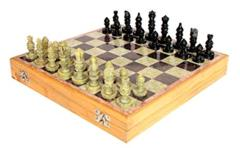 Stone Inlay Hand Carved Chess Set 12