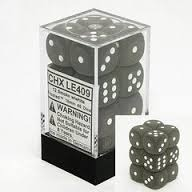 12 16mm Frosted Smoke w/ White D6 Dice CHXLE409