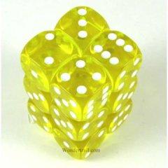 Transparent Dice 16mm 12 Piece Set - Yellow