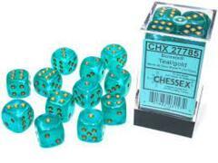 12 16mm Teal/Gold Borealis D6 Dice Set CHX27785