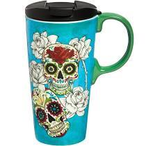 Ceramic Travel Mug - Day of the Dead - Blue