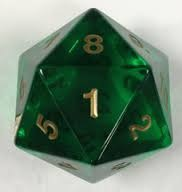 55MM Jumbo D20 Dice (Translucent Green)