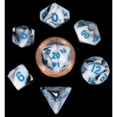 7 Count Mini Dice Poly Set - Marbel with Blue Numbers