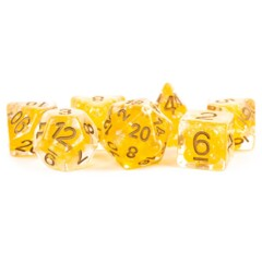 16mm resin poly Dice SEt Pearl - Citrine w/copper