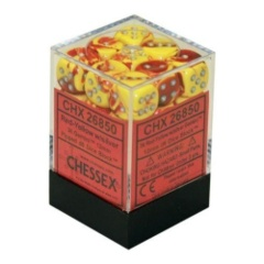 12 16mm Gemini Red-Yellow/Silver D6 Dice - CHX26850