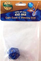 Lapis Lazuli - Glittering Gold  - 1d20 Orb (PolyHero Dice) - Level Up Pack