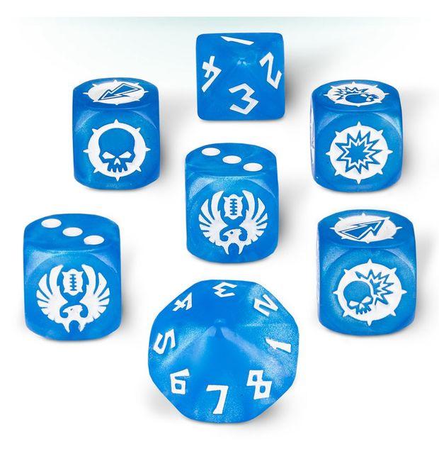 Blue - White - Eleven Union Team (Blood Bowl) - 7 Dice Cube