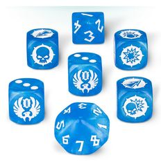 Blue - White - Eleven Union Team (Blood Bowl) - 7 Dice Cube