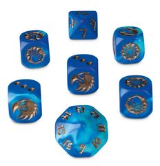 Blue - Gold - Beikland Reavers (Blood Bowl) - 7 Dice Cube