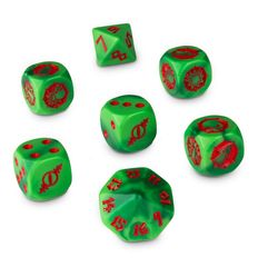 Green - Red - The Gouged Eye (Blood Bowl) - 7 Dice Cube