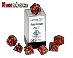 Nanobots - Hot Rod Red & Nitinol Gold (Halfsies Dice) - 7